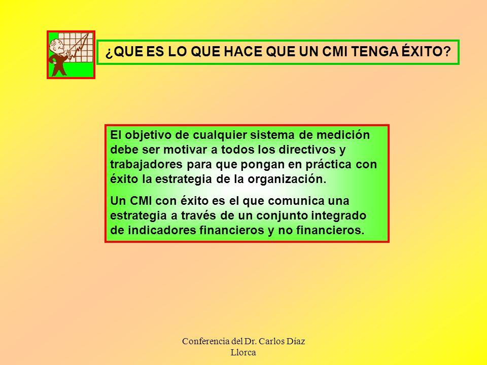 Conferencia del Dr. Carlos Díaz Llorca ¿QUE ES LO QUE HACE QUE UN CMI TENGA ÉXITO? El objetivo de cualquier sistema de medición debe ser motivar a tod