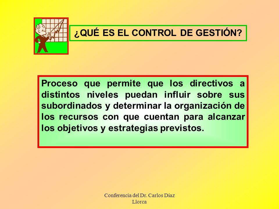 Conferencia del Dr. Carlos Díaz Llorca ¿QUÉ ES EL CONTROL DE GESTIÓN? Proceso que permite que los directivos a distintos niveles puedan influir sobre