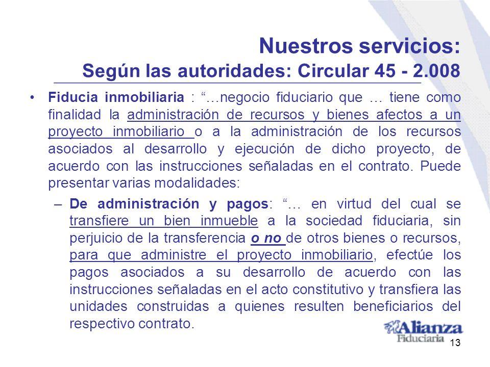 Nuestros servicios: Según las autoridades: Circular 45 - 2.008 Fiducia inmobiliaria : …negocio fiduciario que … tiene como finalidad la administración