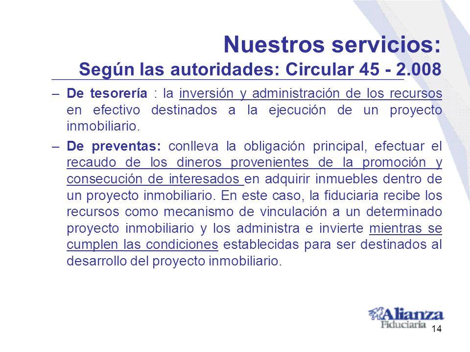Nuestros servicios: Según las autoridades: Circular 45 - 2.008 –De tesorería : la inversión y administración de los recursos en efectivo destinados a
