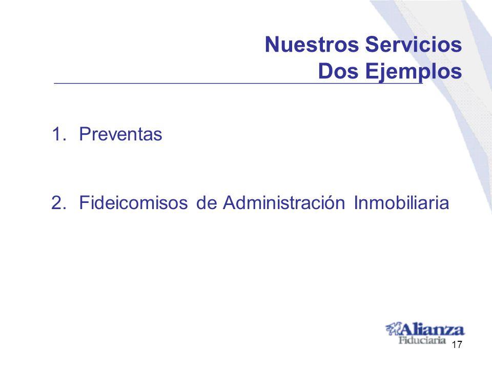 Nuestros Servicios Dos Ejemplos 1.Preventas 2.Fideicomisos de Administración Inmobiliaria 17