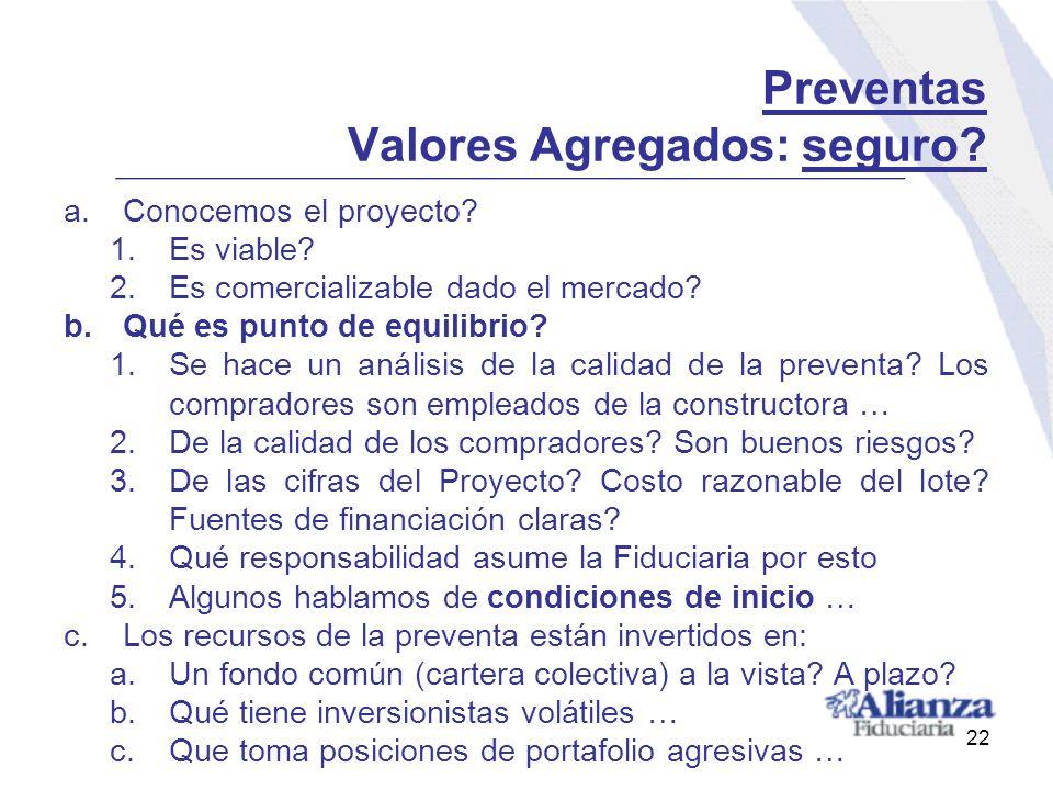 Preventas Valores Agregados: seguro? a.Conocemos el proyecto? 1.Es viable? 2.Es comercializable dado el mercado? b.Qué es punto de equilibrio? 1.Se ha