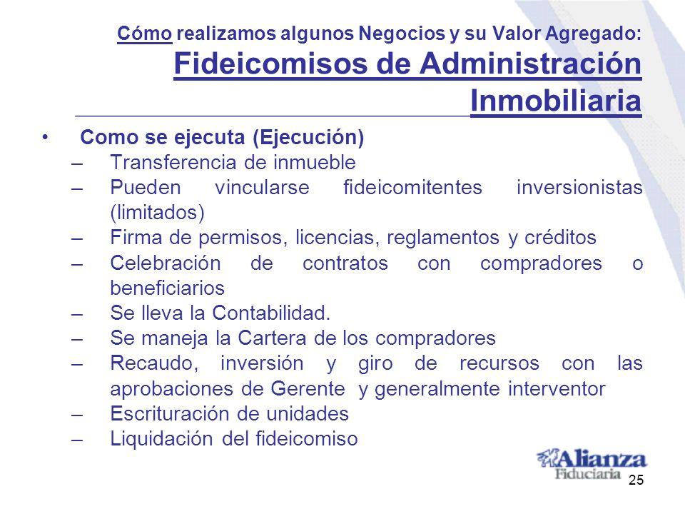 Cómo realizamos algunos Negocios y su Valor Agregado: Fideicomisos de Administración Inmobiliaria Como se ejecuta (Ejecución) –Transferencia de inmueb