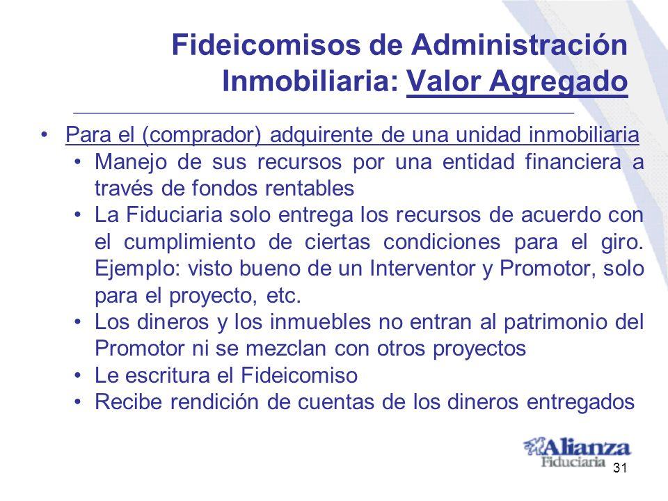 Fideicomisos de Administración Inmobiliaria: Valor Agregado Para el (comprador) adquirente de una unidad inmobiliaria Manejo de sus recursos por una e
