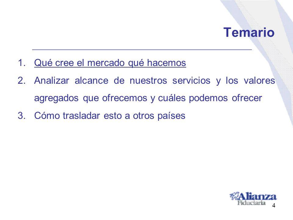 Temario 1.Qué cree el mercado qué hacemos 2.Analizar alcance de nuestros servicios y los valores agregados que ofrecemos y cuáles podemos ofrecer 3.Có