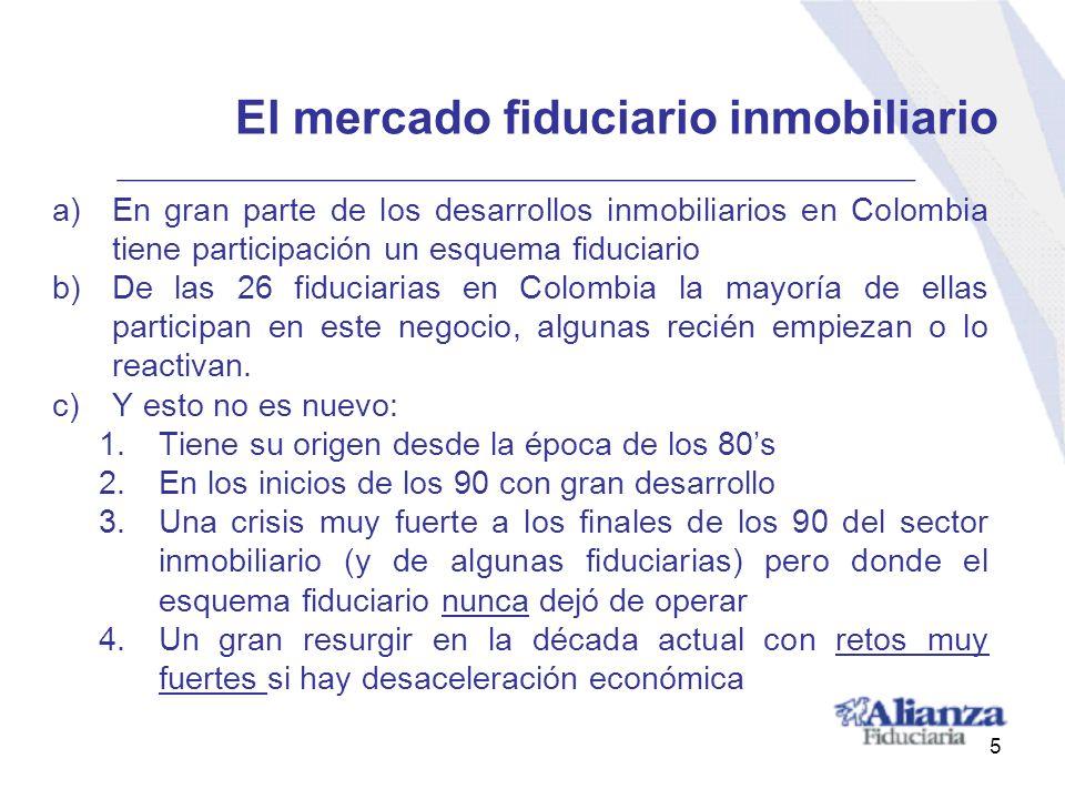 El mercado fiduciario inmobiliario a)En gran parte de los desarrollos inmobiliarios en Colombia tiene participación un esquema fiduciario b)De las 26
