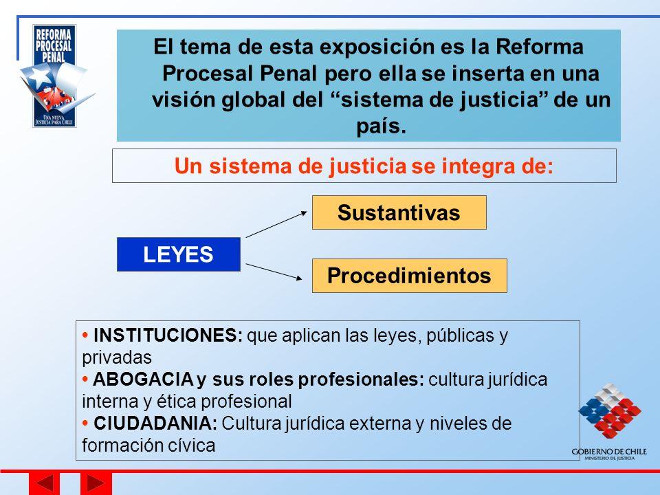 El tema de esta exposición es la Reforma Procesal Penal pero ella se inserta en una visión global del sistema de justicia de un país. Un sistema de ju