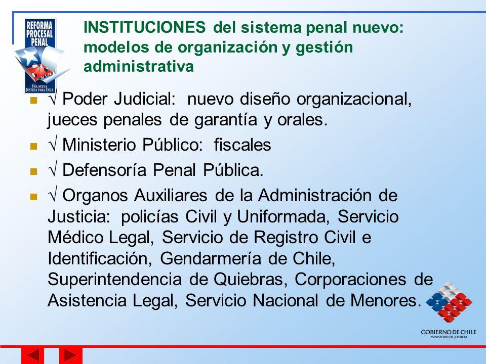 INSTITUCIONES del sistema penal nuevo: modelos de organización y gestión administrativa Poder Judicial: nuevo diseño organizacional, jueces penales de
