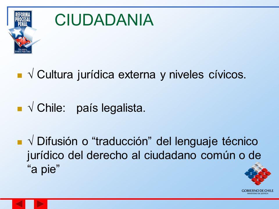 CIUDADANIA Cultura jurídica externa y niveles cívicos. Chile: país legalista. Difusión o traducción del lenguaje técnico jurídico del derecho al ciuda