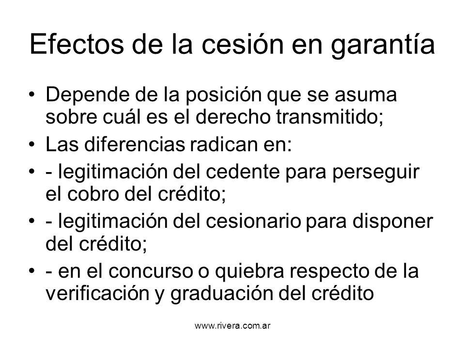 www.rivera.com.ar Efectos de la cesión en garantía Depende de la posición que se asuma sobre cuál es el derecho transmitido; Las diferencias radican e