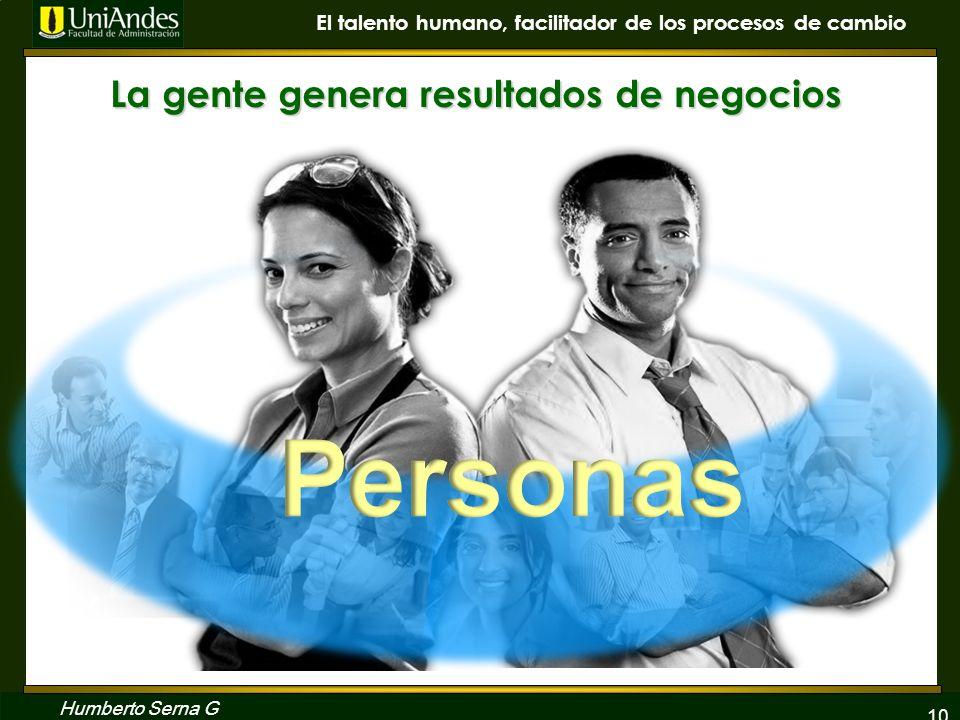10 El talento humano, facilitador de los procesos de cambio Humberto Serna G La gente genera resultados de negocios