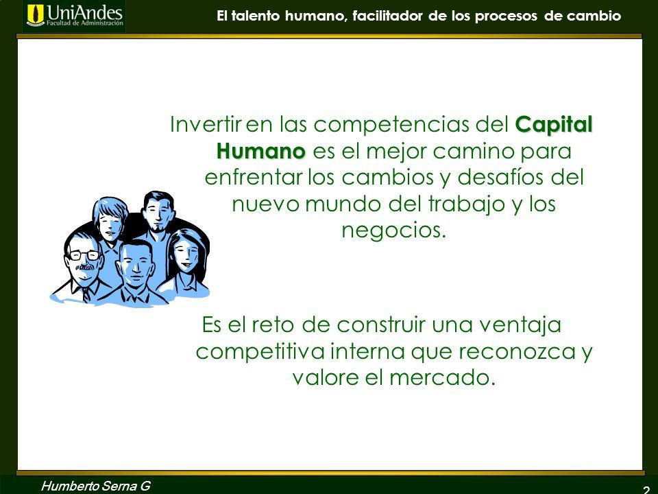 2 El talento humano, facilitador de los procesos de cambio Humberto Serna G Capital Humano Invertir en las competencias del Capital Humano es el mejor