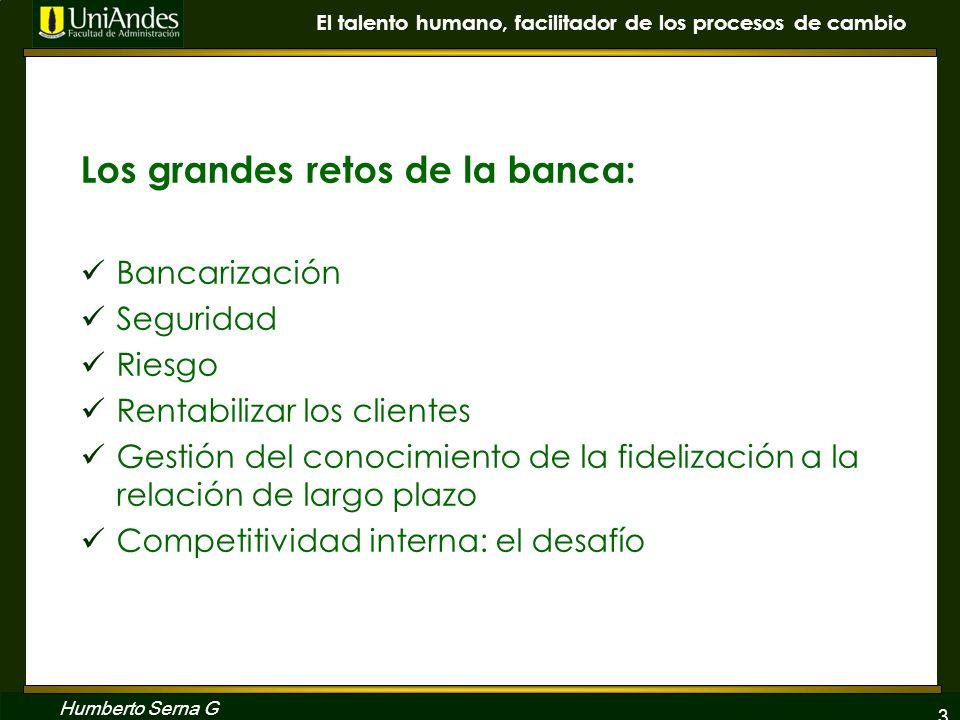 3 El talento humano, facilitador de los procesos de cambio Humberto Serna G Los grandes retos de la banca: Bancarización Seguridad Riesgo Rentabilizar