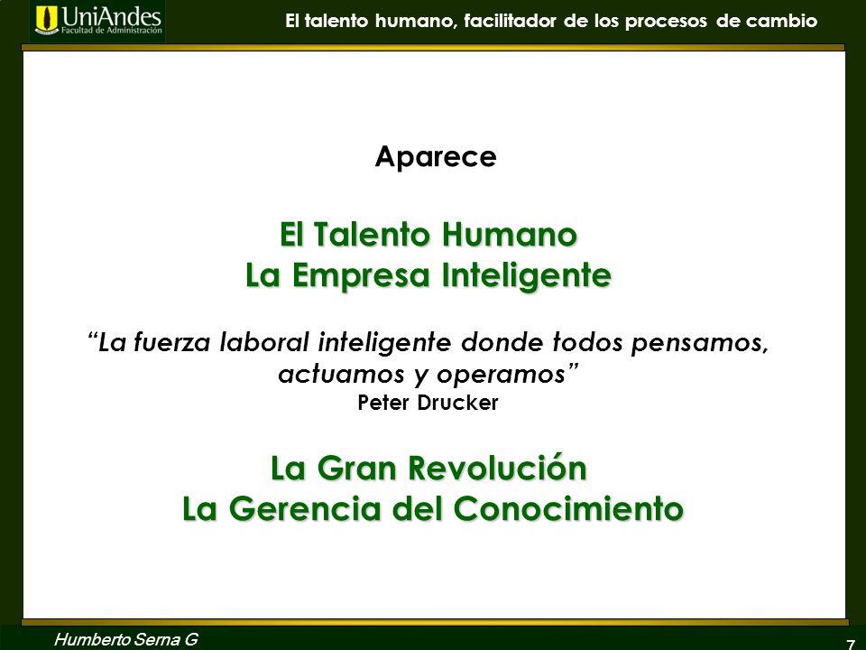 7 El talento humano, facilitador de los procesos de cambio Humberto Serna G El Talento Humano La Empresa Inteligente La Gran Revolución La Gerencia de