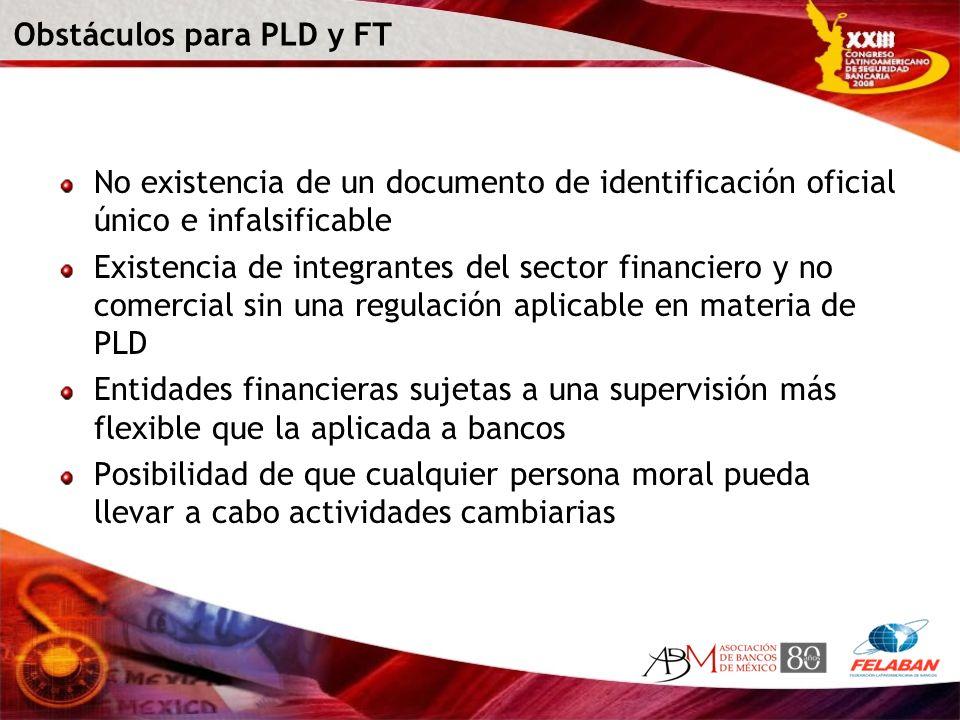 Obstáculos para PLD y FT No existencia de un documento de identificación oficial único e infalsificable Existencia de integrantes del sector financier