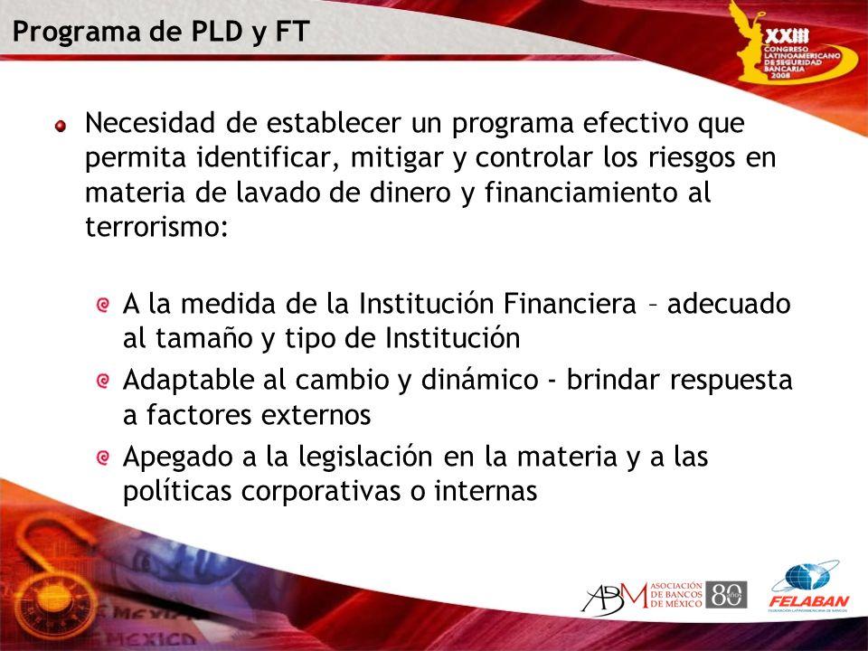 Programa de PLD y FT Necesidad de establecer un programa efectivo que permita identificar, mitigar y controlar los riesgos en materia de lavado de din
