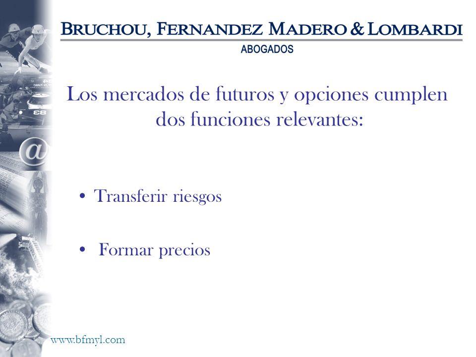 www.bfmyl.com Los mercados de futuros y opciones cumplen dos funciones relevantes: Transferir riesgos Formar precios