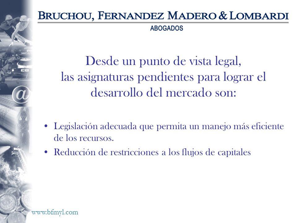 www.bfmyl.com Desde un punto de vista legal, las asignaturas pendientes para lograr el desarrollo del mercado son: Legislación adecuada que permita un