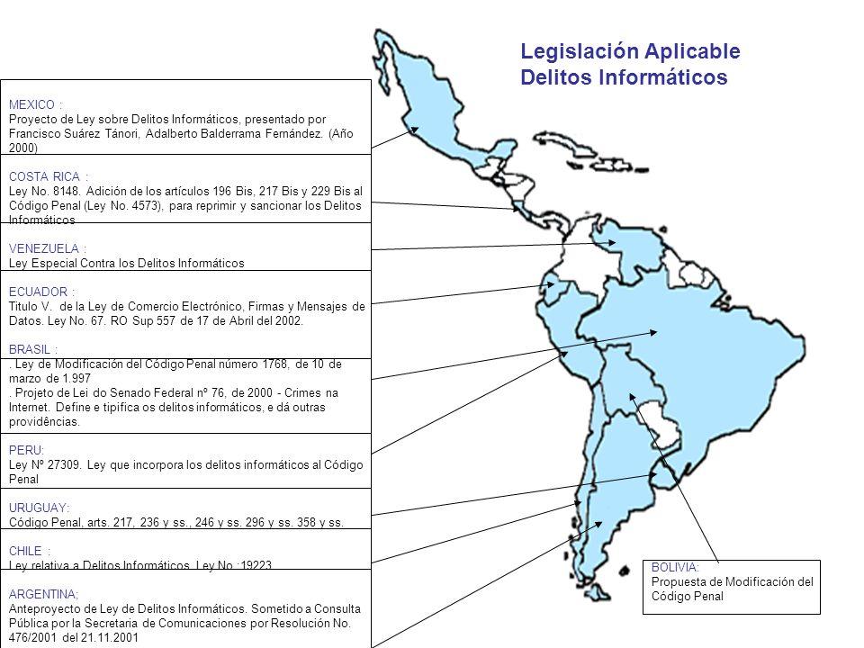 MEXICO : Proyecto de Ley sobre Delitos Informáticos, presentado por Francisco Suárez Tánori, Adalberto Balderrama Fernández. (Año 2000) COSTA RICA : L