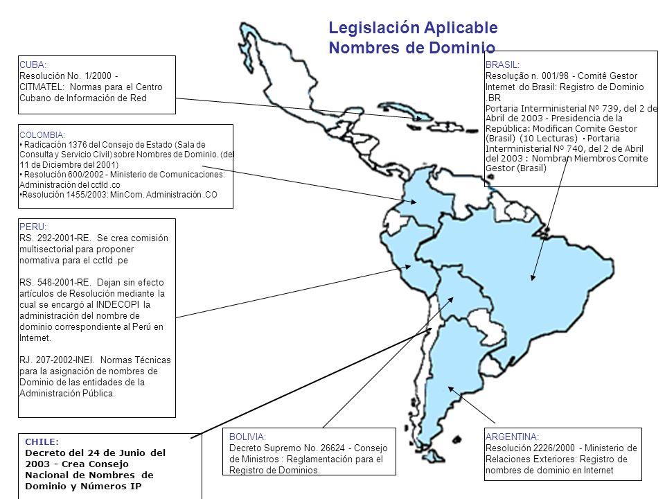 ARGENTINA: Resolución 2226/2000 - Ministerio de Relaciones Exteriores: Registro de nombres de dominio en Internet BOLIVIA: Decreto Supremo No. 26624 -