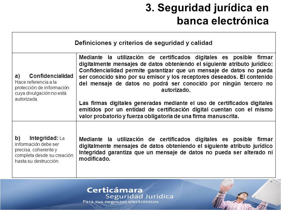 3. Seguridad jurídica en banca electrónica Definiciones y criterios de seguridad y calidad a) Confidencialidad Hace referencia a la protección de info