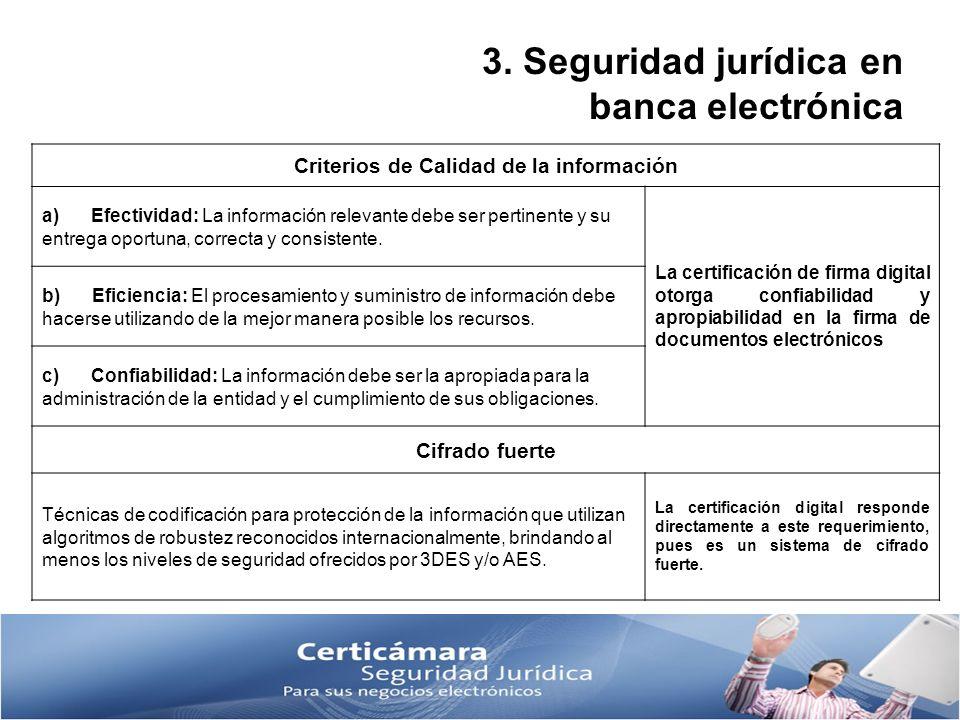 3. Seguridad jurídica en banca electrónica Criterios de Calidad de la información a) Efectividad: La información relevante debe ser pertinente y su en