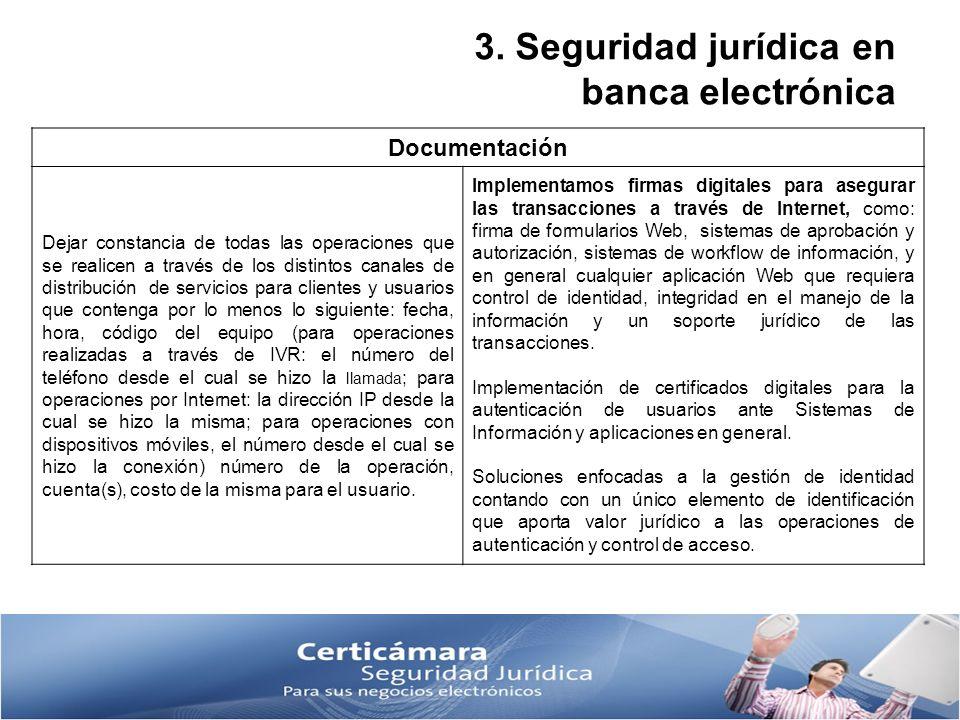 3. Seguridad jurídica en banca electrónica Documentación Dejar constancia de todas las operaciones que se realicen a través de los distintos canales d