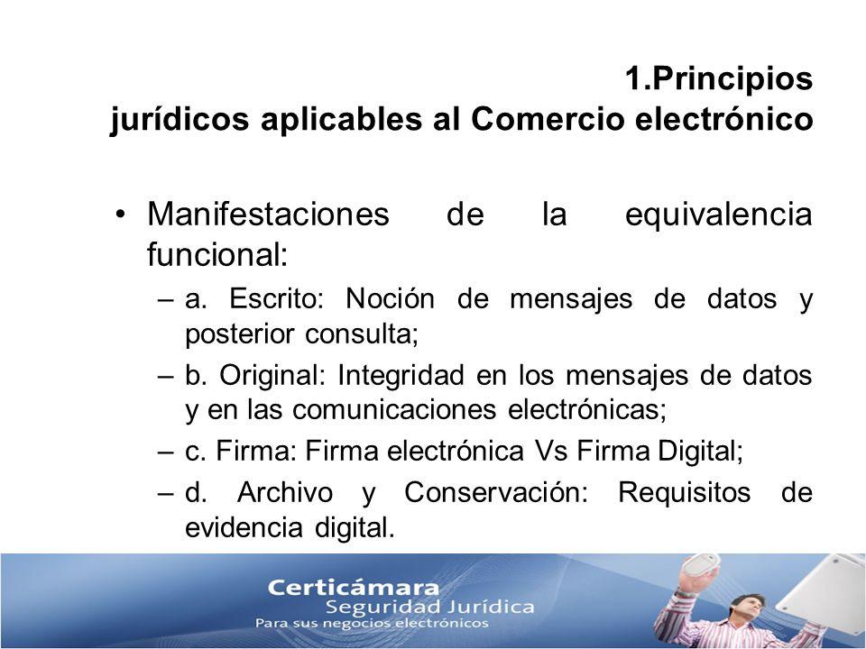 1.Principios jurídicos aplicables al Comercio electrónico Manifestaciones de la equivalencia funcional: –a. Escrito: Noción de mensajes de datos y pos