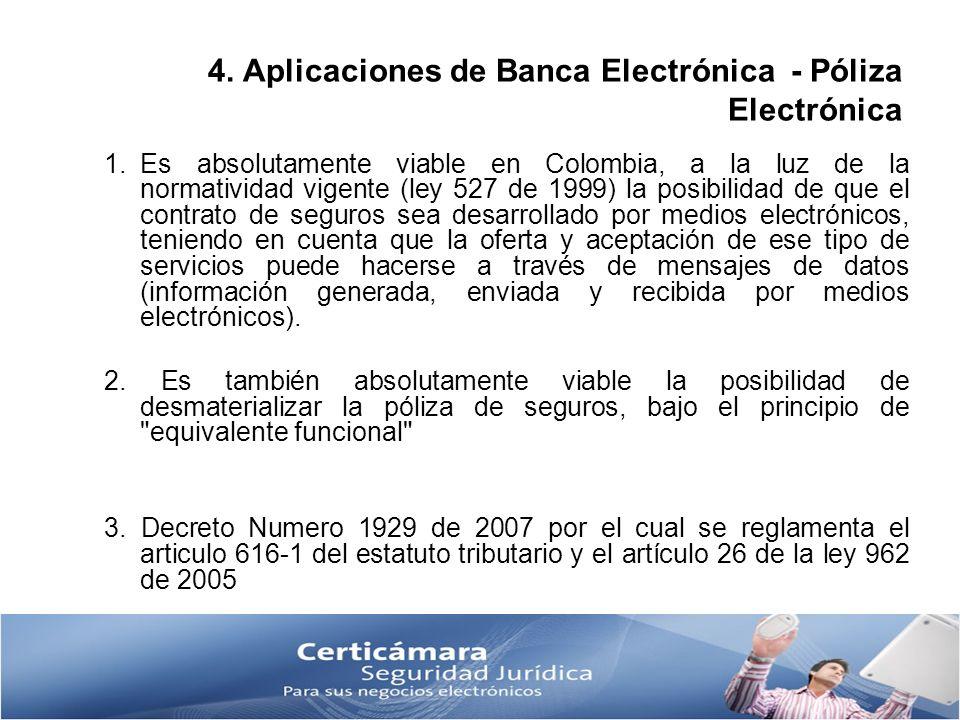4. Aplicaciones de Banca Electrónica - Póliza Electrónica 1.Es absolutamente viable en Colombia, a la luz de la normatividad vigente (ley 527 de 1999)