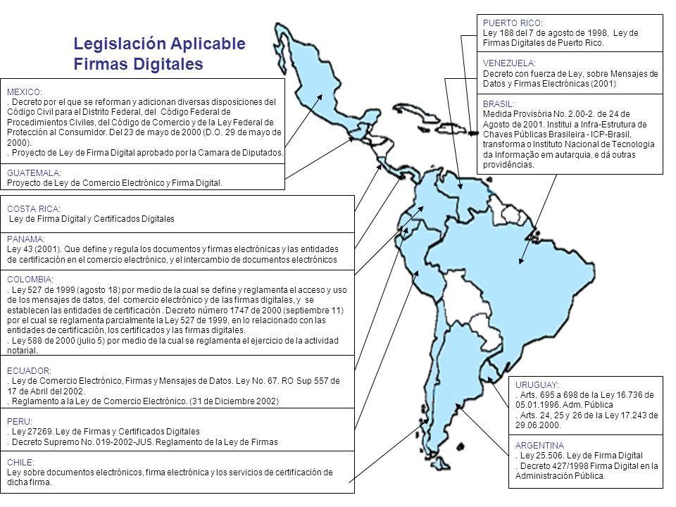 PUERTO RICO: Ley 188 del 7 de agosto de 1998, Ley de Firmas Digitales de Puerto Rico. VENEZUELA: Decreto con fuerza de Ley, sobre Mensajes de Datos y