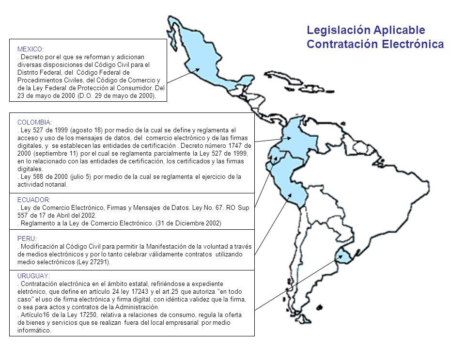 COLOMBIA:. Ley 527 de 1999 (agosto 18) por medio de la cual se define y reglamenta el acceso y uso de los mensajes de datos, del comercio electrónico