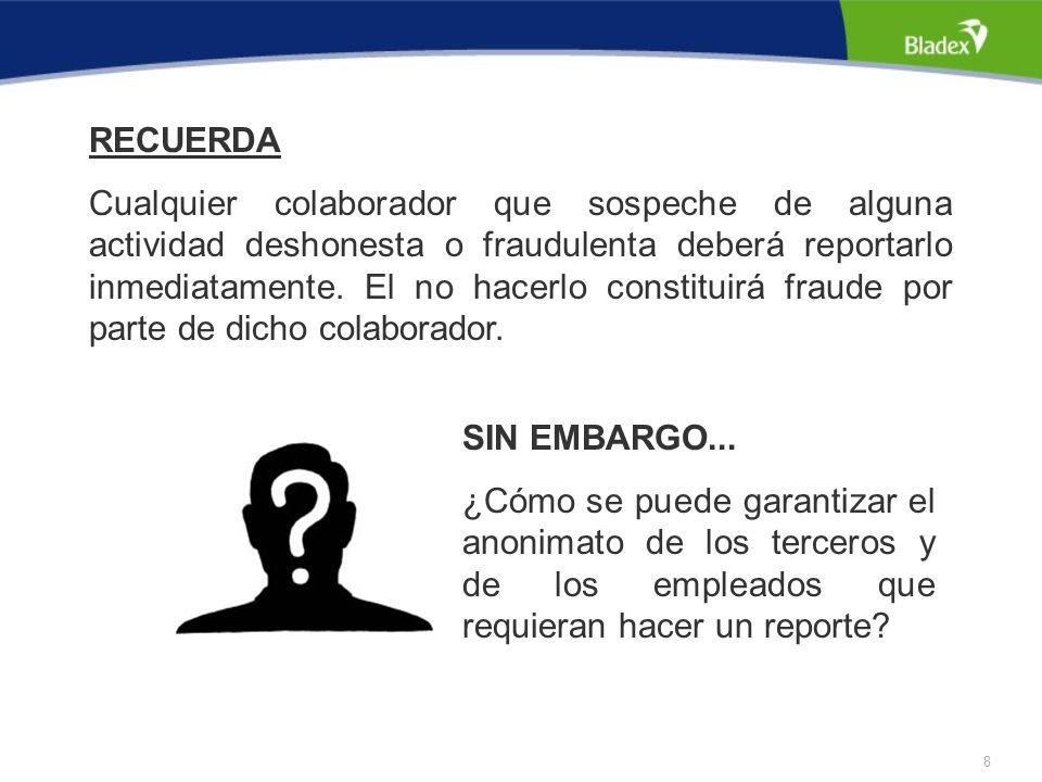 8 RECUERDA Cualquier colaborador que sospeche de alguna actividad deshonesta o fraudulenta deberá reportarlo inmediatamente.