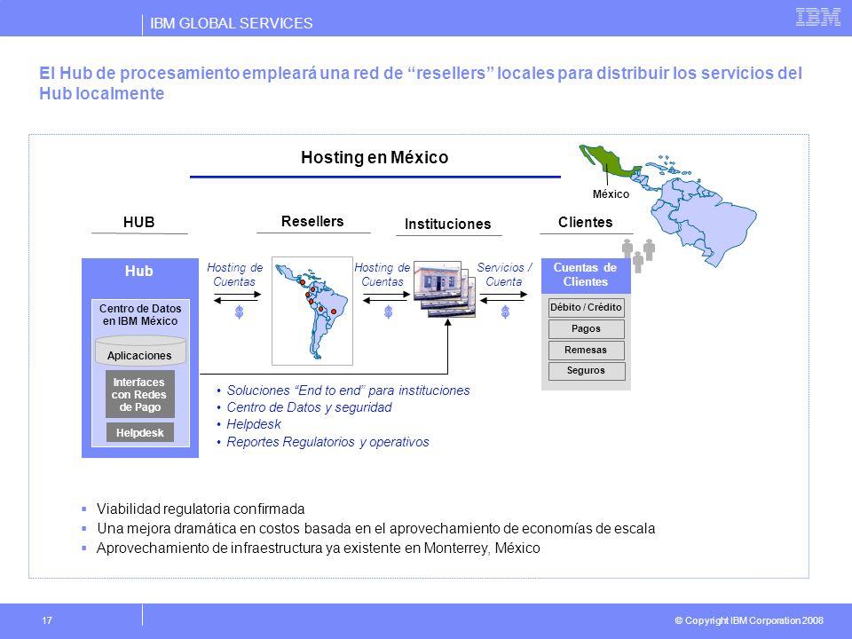 IBM GLOBAL SERVICES © Copyright IBM Corporation 2008 17 El Hub de procesamiento empleará una red de resellers locales para distribuir los servicios de