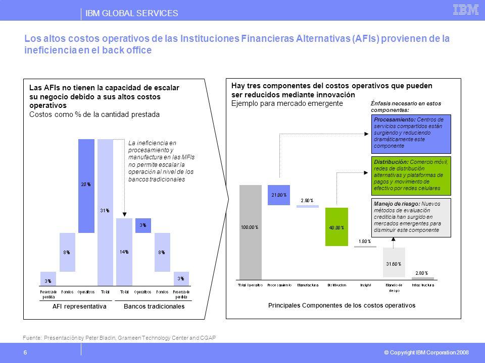 IBM GLOBAL SERVICES © Copyright IBM Corporation 2008 6 Las AFIs no tienen la capacidad de escalar su negocio debido a sus altos costos operativos Cost