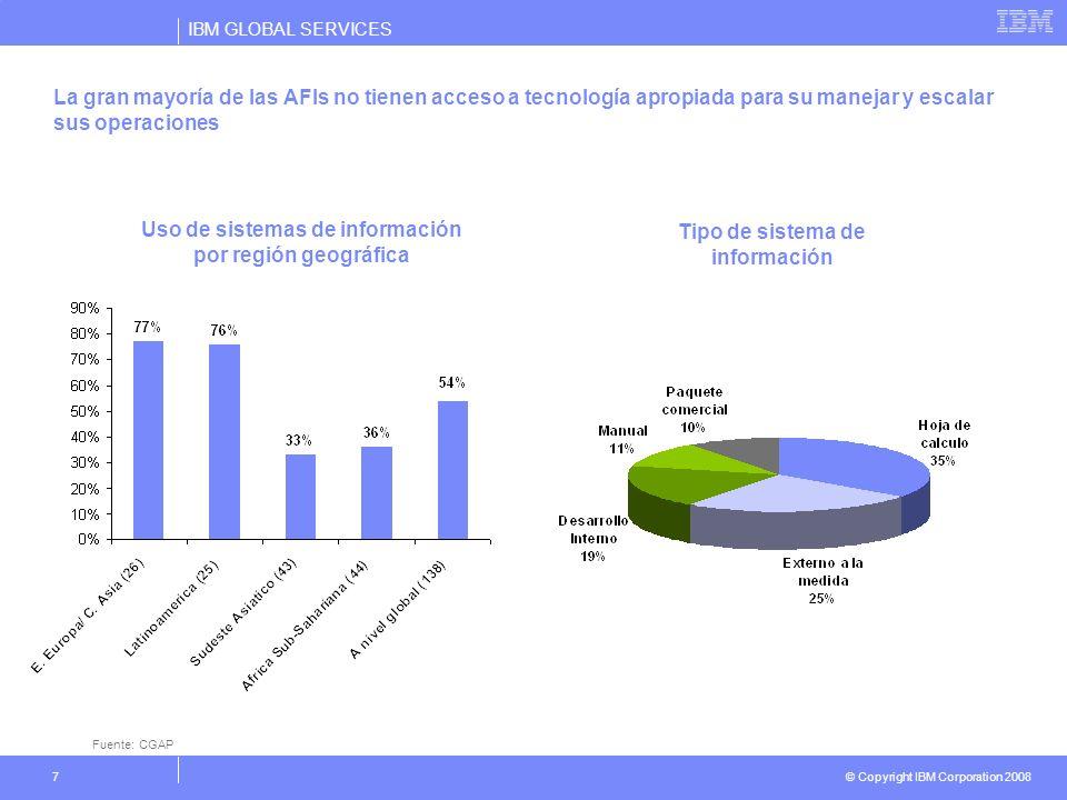 IBM GLOBAL SERVICES © Copyright IBM Corporation 2008 7 La gran mayoría de las AFIs no tienen acceso a tecnología apropiada para su manejar y escalar s