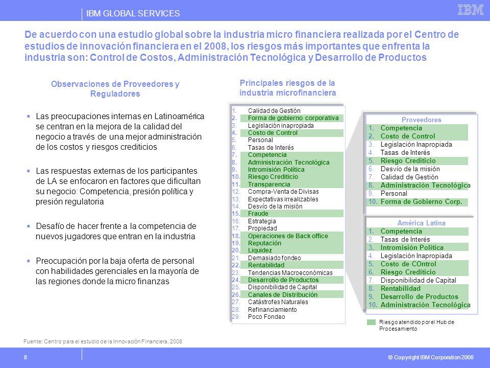 IBM GLOBAL SERVICES © Copyright IBM Corporation 2008 8 De acuerdo con una estudio global sobre la industria micro financiera realizada por el Centro d