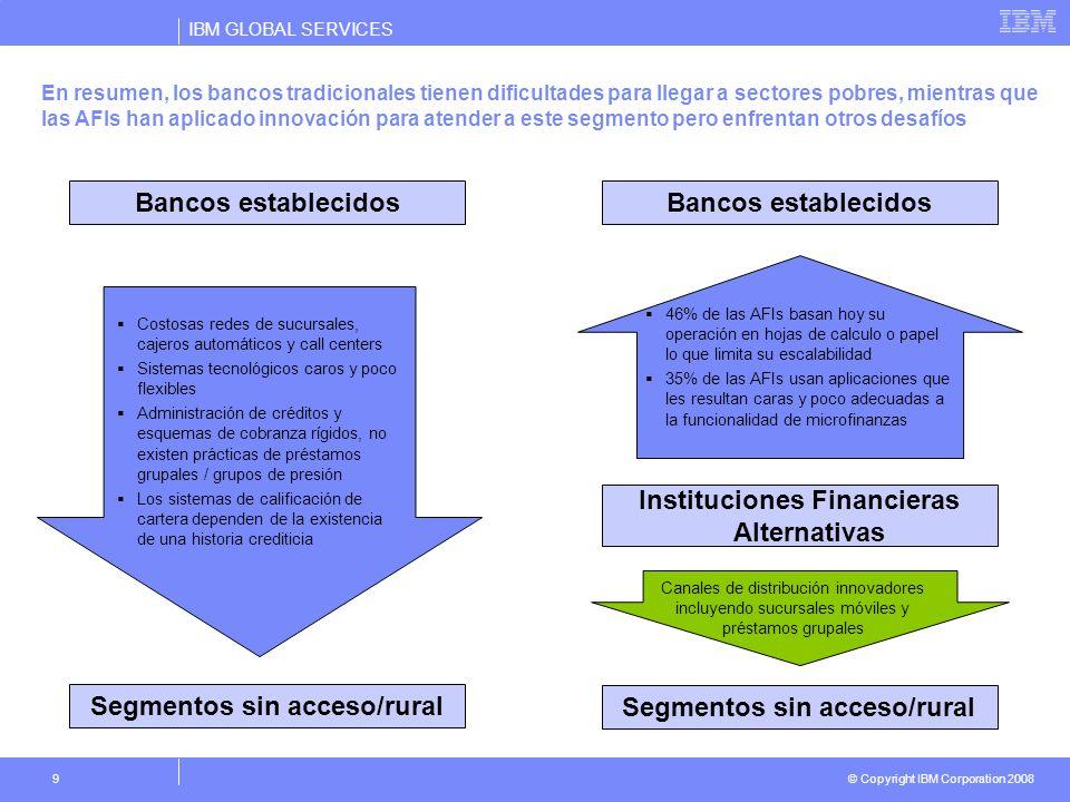 IBM GLOBAL SERVICES © Copyright IBM Corporation 2008 9 En resumen, los bancos tradicionales tienen dificultades para llegar a sectores pobres, mientra