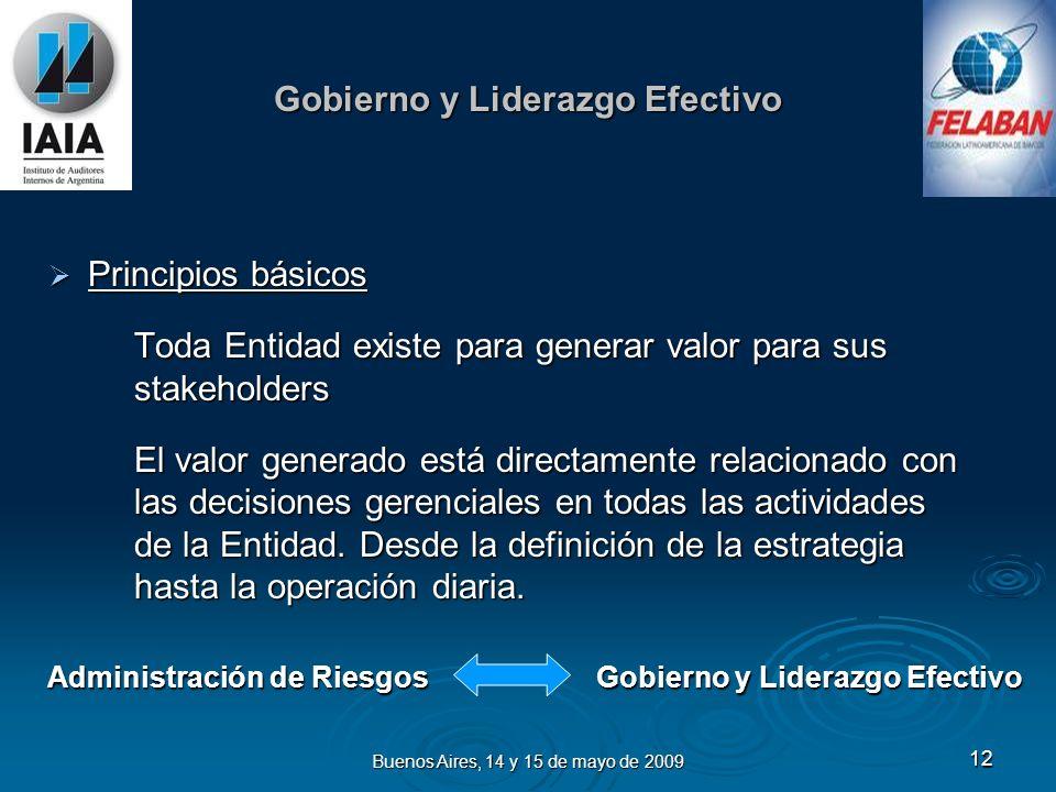 Buenos Aires, 14 y 15 de mayo de 2009 13 Roles y Responsabilidades Directorio Directorio Definición sobre aceptación y manejo de riesgos Políticas Estructura y recursos Actualización periódica de la estrategia Comunicación adecuada a toda la organización.