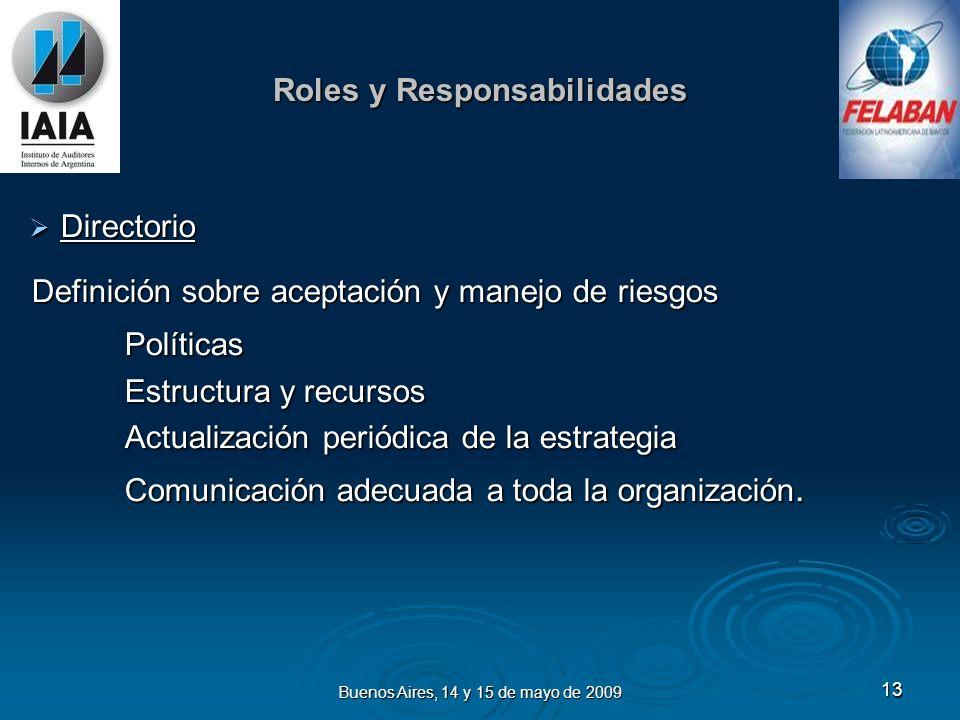 Buenos Aires, 14 y 15 de mayo de 2009 14 Roles y Responsabilidades Comité de Auditoría Comité de Auditoría Fijar el foco ComunicarMonitorear Auditoría Interna Auditoría Interna Abarcar la gestión del riesgo y los sistemas de control.