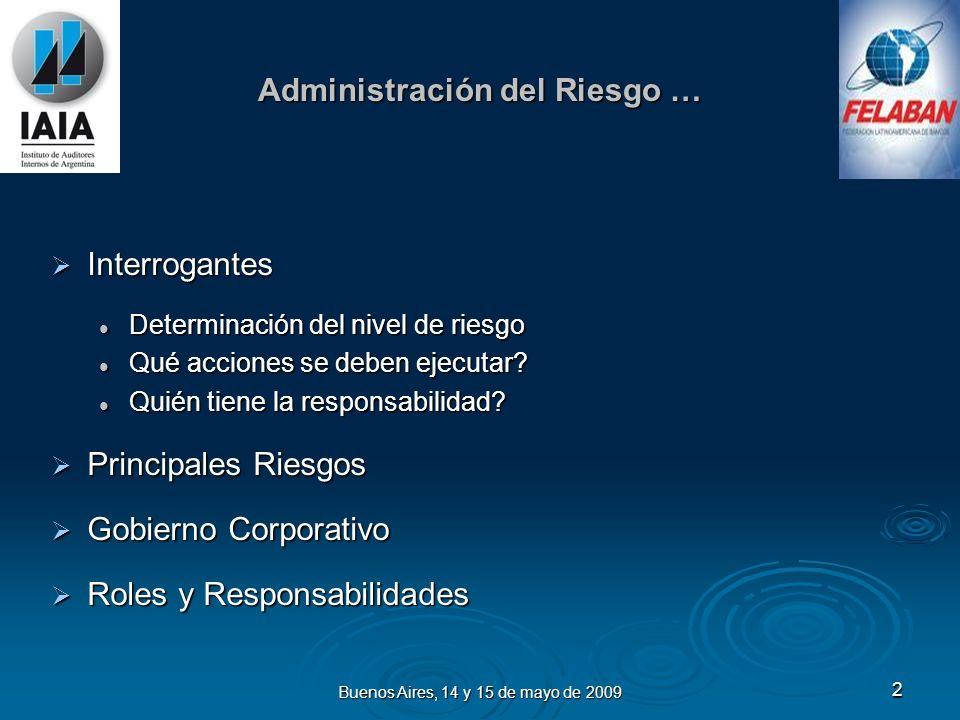 Buenos Aires, 14 y 15 de mayo de 2009 2 Administración del Riesgo … Interrogantes Interrogantes Determinación del nivel de riesgo Determinación del nivel de riesgo Qué acciones se deben ejecutar.