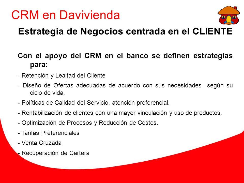 CRM en Davivienda Estrategia de Negocios centrada en el CLIENTE Con el apoyo del CRM en el banco se definen estrategias para: - Retención y Lealtad del Cliente - Diseño de Ofertas adecuadas de acuerdo con sus necesidades según su ciclo de vida.