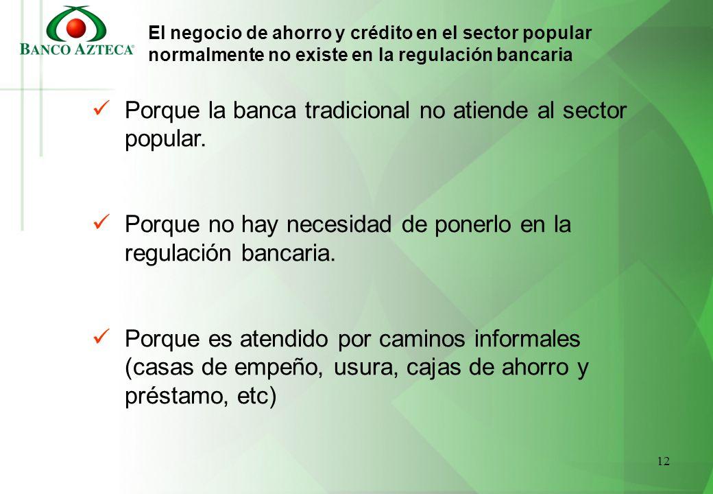 12 El negocio de ahorro y crédito en el sector popular normalmente no existe en la regulación bancaria Porque la banca tradicional no atiende al secto