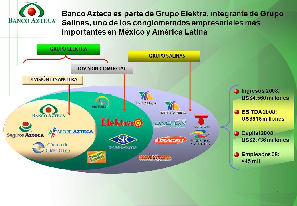 4 Banco Azteca es parte de Grupo Elektra, integrante de Grupo Salinas, uno de los conglomerados empresariales más importantes en México y América Lati