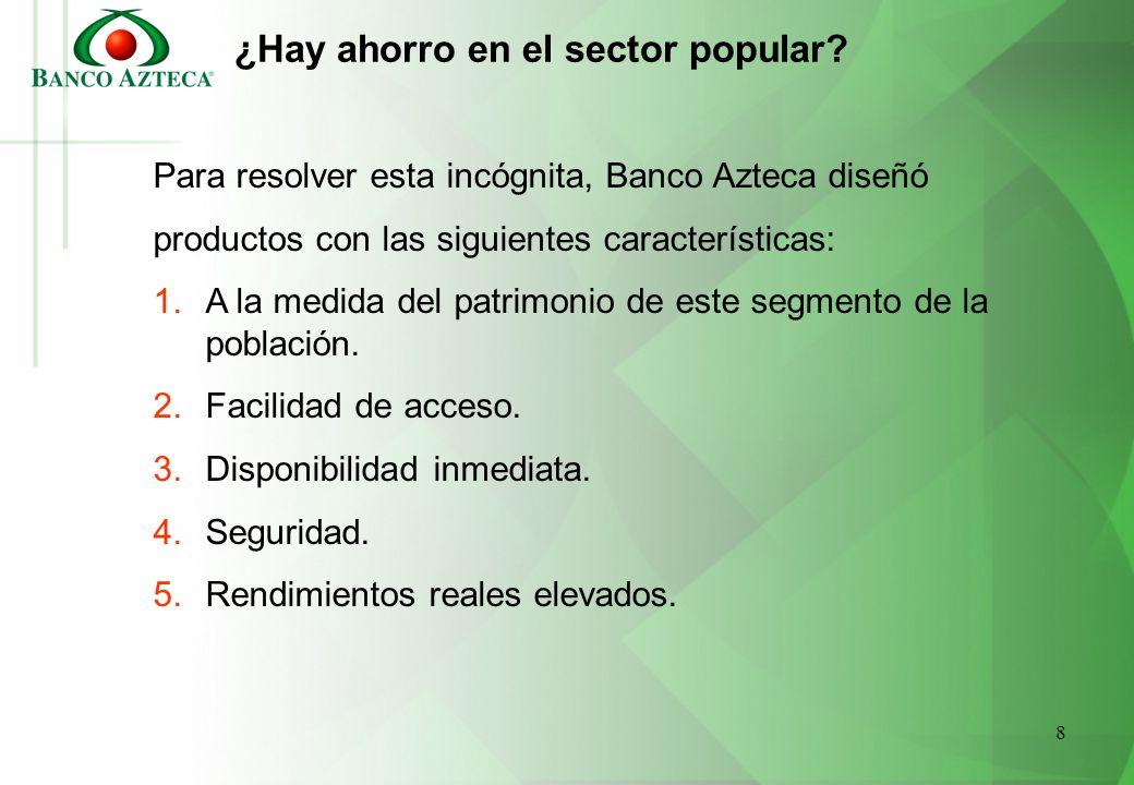 8 ¿Hay ahorro en el sector popular? Para resolver esta incógnita, Banco Azteca diseñó productos con las siguientes características: 1.A la medida del