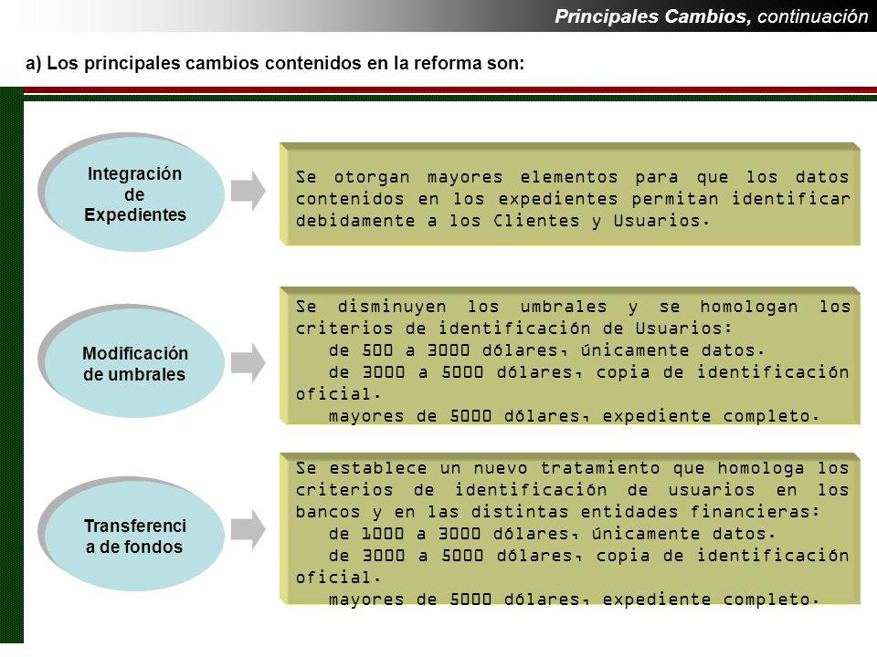 Principales Cambios, continuación a) Los principales cambios contenidos en la reforma son: Se establece un nuevo tratamiento que homologa los criterio