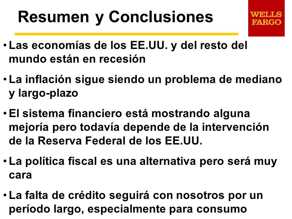Resumen y Conclusiones Las economías de los EE.UU. y del resto del mundo están en recesión La inflación sigue siendo un problema de mediano y largo-pl