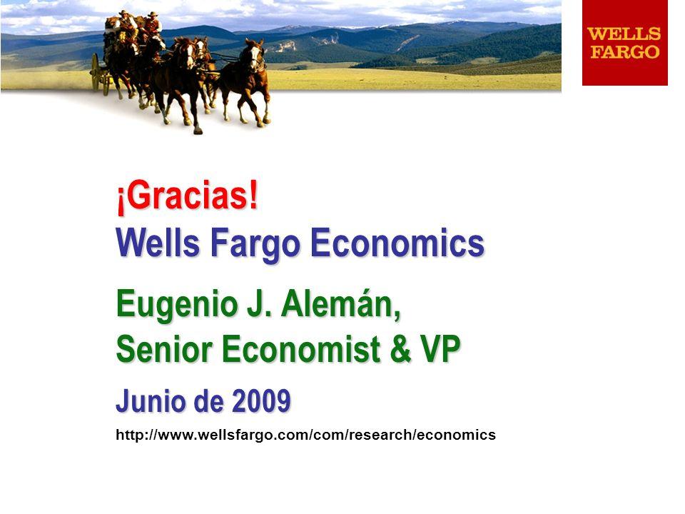 ¡Gracias! Wells Fargo Economics Eugenio J. Alemán, Senior Economist & VP Junio de 2009 http://www.wellsfargo.com/com/research/economics