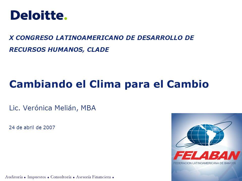 ©2007 Deloitte Uruguay X CONGRESO LATINOAMERICANO DE DESARROLLO DE RECURSOS HUMANOS, CLADE Cambiando el Clima para el Cambio Lic. Verónica Melián, MBA