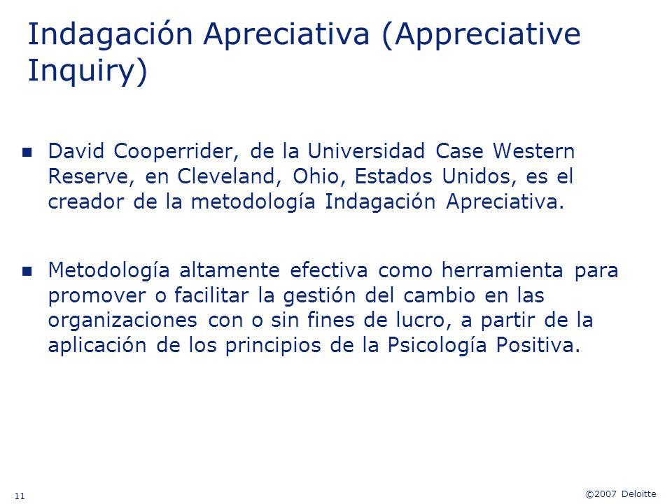 ©2007 Deloitte 11 Indagación Apreciativa (Appreciative Inquiry) n David Cooperrider, de la Universidad Case Western Reserve, en Cleveland, Ohio, Estad