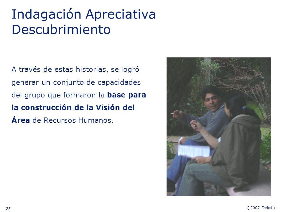 ©2007 Deloitte 25 Indagación Apreciativa Descubrimiento A través de estas historias, se logró generar un conjunto de capacidades del grupo que formaro